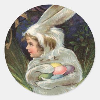 Huevo pintado coloreado traje del conejito de pegatina redonda