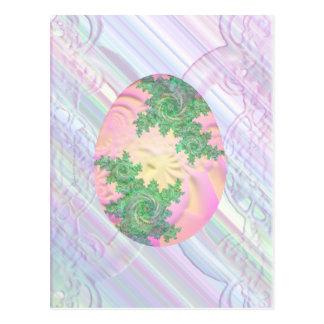 Huevo pintado verde y amarillo rosado postal