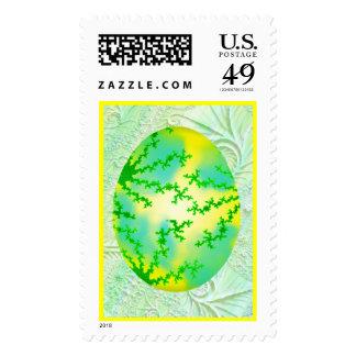Huevo pintado verde y amarillo sello