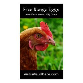 Huevo que cultiva la foto rural del pollo tarjetas de visita