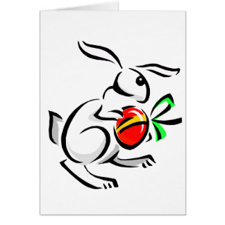 huevo rojo hopping.png del conejo blanco abstracto tarjeta pequeña