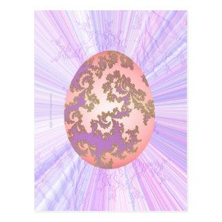 Huevo rosado y púrpura tarjeta postal