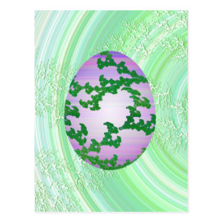 Huevo rosado y púrpura verde postal