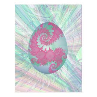 Huevo verde y azul pintado rosado tarjeta postal