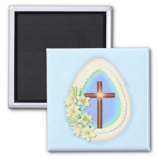 Huevo y cruz de la ventana imán cuadrado