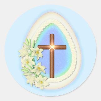 Huevo y cruz de la ventana pegatina redonda
