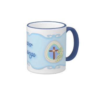 Huevo y cruz de la ventana taza de café