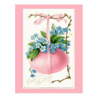 Huevo y postal rosados de Pascua de las flores