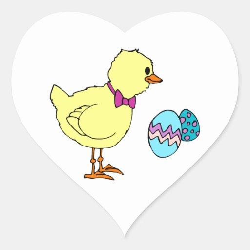 huevos abstractos del polluelo dos pegatina corazón personalizadas