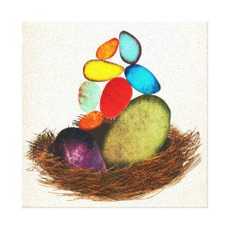 Huevos azules en lona colorida de la jerarquía impresiones de lienzo