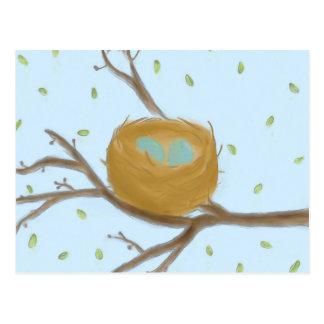 Huevos azules manchados en una postal de la jerarq