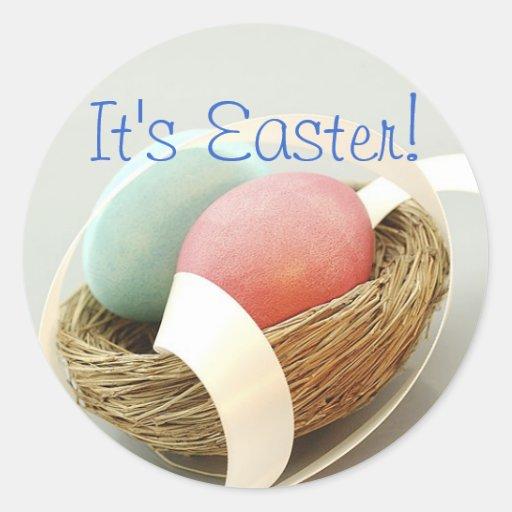 Huevos bonitos felices de Pascua Pascua Pegatina Redonda