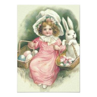 """Huevos coloreados conejito de la cesta de Pascua Invitación 5"""" X 7"""""""