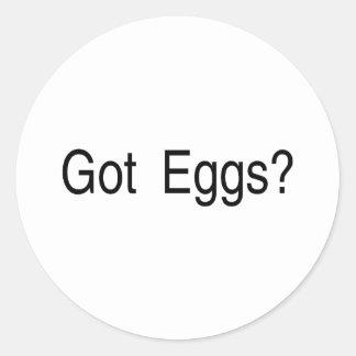 Huevos conseguidos etiquetas redondas