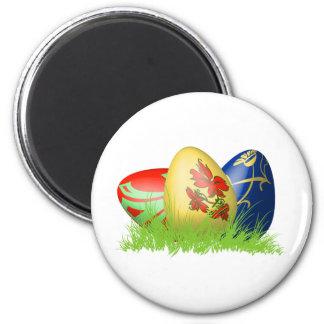 huevos de 3D Pascua en hierba Imán Redondo 5 Cm