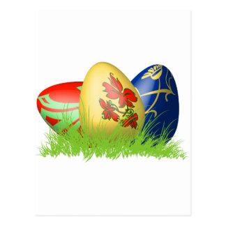 huevos de 3D Pascua en hierba Postal