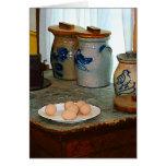 Huevos de Brown y tarros del jengibre Felicitación