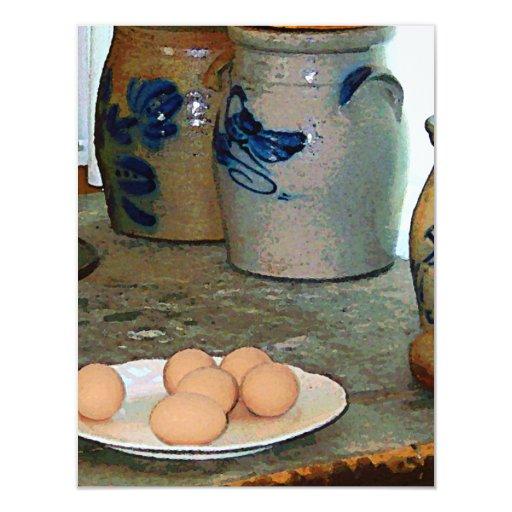 """Huevos de Brown y tarros del jengibre Invitación 4.25"""" X 5.5"""""""