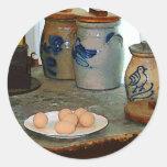 Huevos de Brown y tarros del jengibre Pegatina Redonda