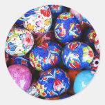 Huevos de cerámica del diseño de Iznik Etiquetas Redondas