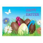 Huevos de chocolate felices de Pascua Tarjeta Postal