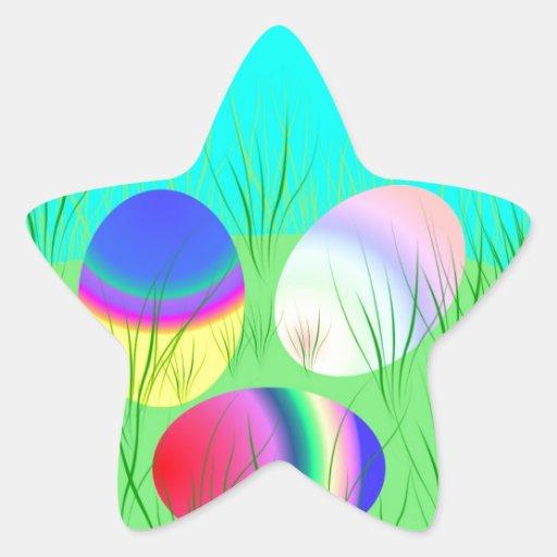Huevos de Coloful Pascua Pegatina En Forma De Estrella