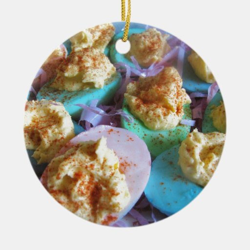 Huevos de Deviled en colores pastel Adorno Navideño Redondo De Cerámica