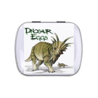 Huevos de dinosaurio latas de caramelos