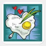 Huevos de los corazones del desayuno del amor del calcomanías cuadradass