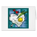 Huevos de los corazones del desayuno del amor del  tarjetón