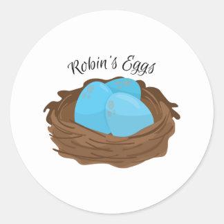 Huevos de los petirrojos pegatina redonda