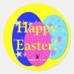 Huevos de Pascua adornados Pegatinas Redondas
