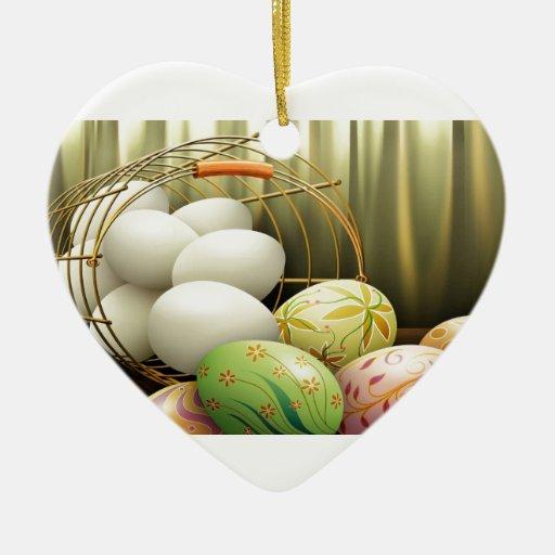 Huevos de Pascua Adorno Navideño De Cerámica En Forma De Corazón