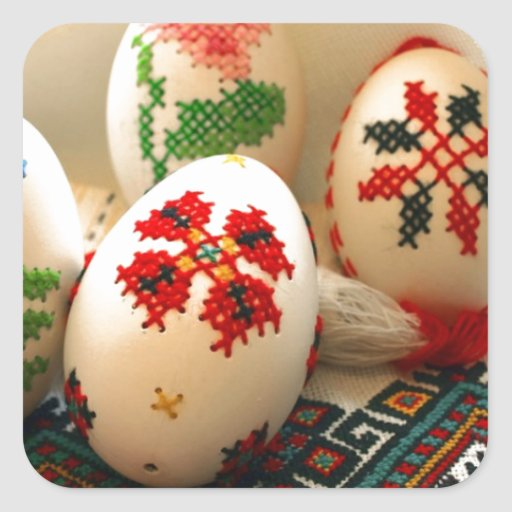 Huevos de Pascua bordados Calcomanía Cuadradas
