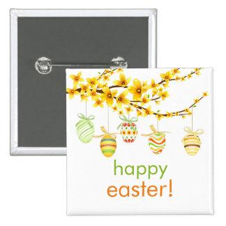 Huevos de Pascua, botón de la rama del Forsythia Pin Cuadrado