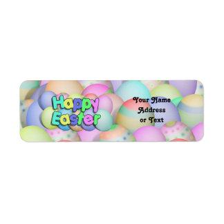 Huevos de Pascua coloreados - Pascua feliz Etiqueta De Remite