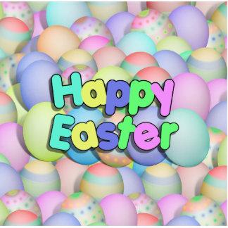 Huevos de Pascua coloreados - Pascua feliz Fotoescultura Vertical