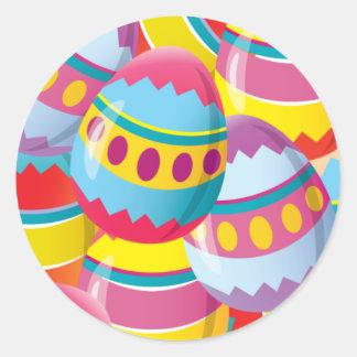 Huevos de Pascua coloridos - colores de la fiesta Pegatina Redonda
