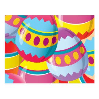 Huevos de Pascua coloridos - colores de la fiesta Postal