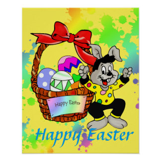 Huevos de Pascua coloridos en cesta con el baile Póster