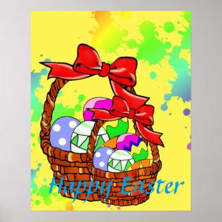 Huevos de Pascua coloridos en cestas Póster