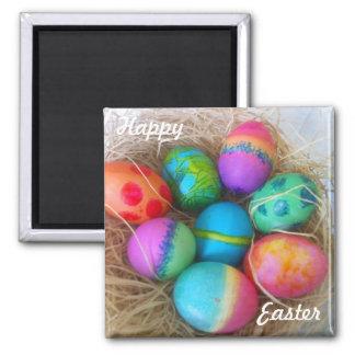 Huevos de Pascua coloridos Imán Cuadrado