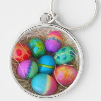 Huevos de Pascua coloridos Llavero Redondo Plateado