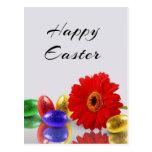 Huevos de Pascua con el Gerbera - postal