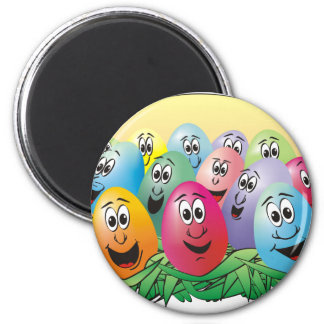 Huevos de Pascua con las caras en hierba Imán Redondo 5 Cm