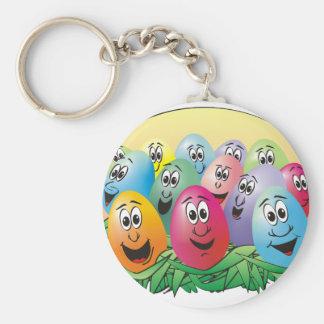 Huevos de Pascua con las caras en hierba Llavero Redondo Tipo Pin