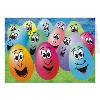 Huevos de Pascua con las caras Tarjeta De Felicitación