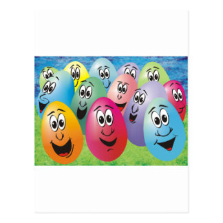 Huevos de Pascua con las caras Postal