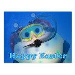 Huevos de Pascua del buceo con escafandra Postal