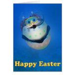 Huevos de Pascua del buceo con escafandra Tarjeta De Felicitación